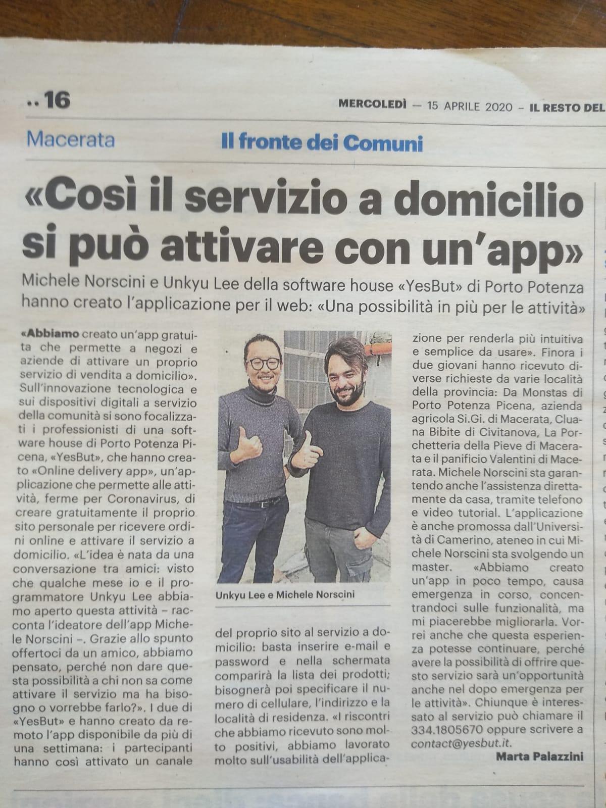 Comunicato Stampa – Resto del Carlino, Macerata, 15/04/2020